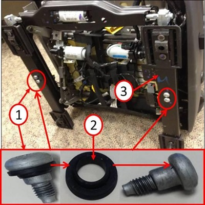 1) Remove the original drive block bolts one at a time. 2) Transfer the plastic spacer to the new bolts. 3) Tighten the new bolts to 11 ft.-lbs.