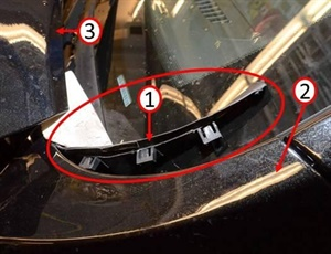 1) Cowl to fender closeout seal (lower right corner of windshield). 2) Driver side fender. 3) Rear corner of hood.
