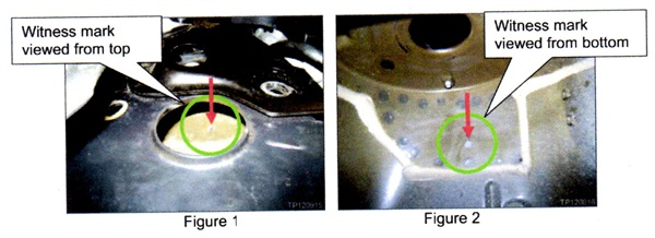 Figures 1 and 2 show witness marks from the coil spring. Figure 1 is a view from top; Figure 2 shows a view from the bottom.
