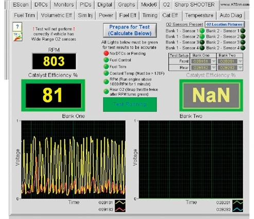 The catalytic efficiency test on the EScan is easy to understand, but not necessary if you know how to read a post-catalytic oxygen sensor PID. Some vehicle software (especially on American vehicles) will allow the voltage to bounce around a lot, while on others such as Toyotas the OEM is looking for a very stable post-cat O2 reading.