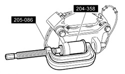 Press-out the lower ball joint using a C-frame tool and remover adapter P/N 204-358.