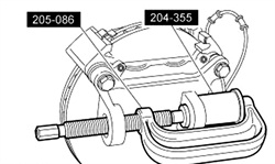 Remove the upper ball joint using the C-frame and adapter tool 204-355.
