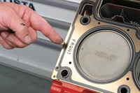 "Many head gaskets will feature a ""FRONT"" indication to help the installer determine proper gasket-to-deck orientation."