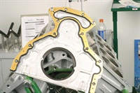 Engine covers (such as the LS front cover shown here) often feature a metal-core gasket that features a pre-applied sealing bead. No additional sealant should be required.