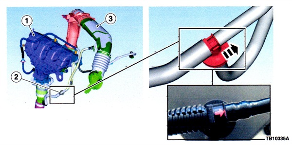 Left illustration: 1) intake manifold; 2) vapor ejector valve; 3) air cleaner outlet pipe assembly. Right: Note correct installation of the vapor ejector (see arrow).