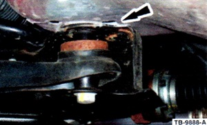 Figure 2. Reposition the subframe to center the locating pins.