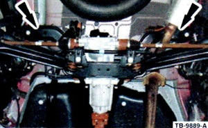 Figure 3. For 2001-2011 rear noise, loosen the four rear subframe bolts.