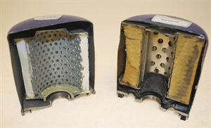 """Knock-off products that may not meet OEM standards infest the global marketplace, and oil filters are no exception. It's obvious the filter on the left is a """"fake,"""" constructed with less media and of lower quality, compared to the """"original"""" on the right."""