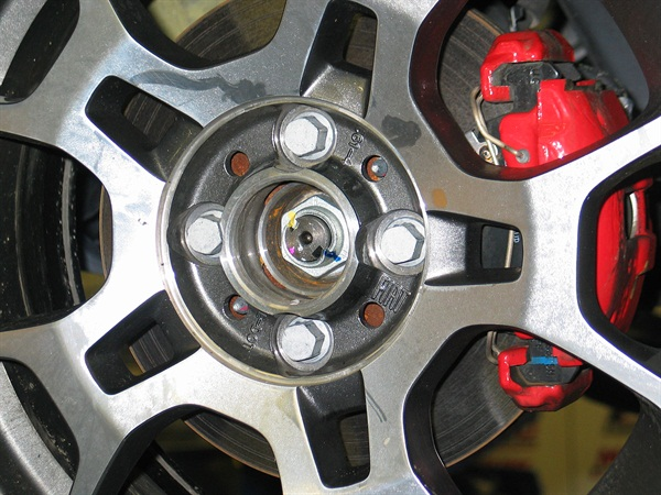 Wheel hubs feature four-bolt design. Wheels are secured with bolts (hub bolt holes are tapped).