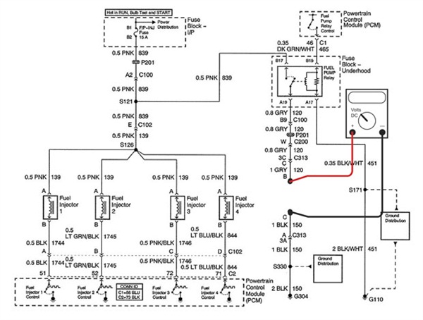 Figure 1: Shown here is a wiring schematic of the fuel delivery system with the digital multi-meter (DMM) connected to measure the open circuit voltage of the fuel delivery circuit.
