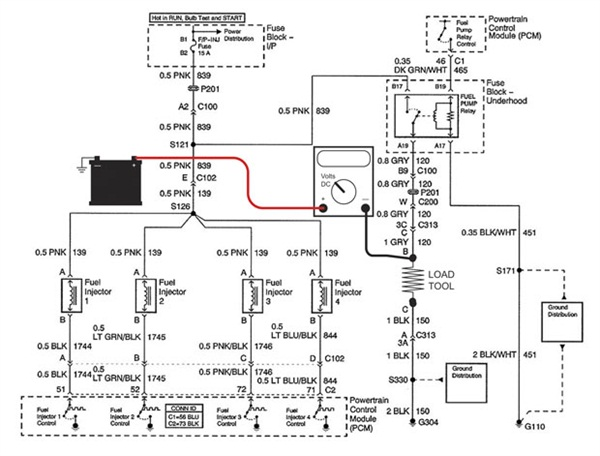 Figure 5: Shown here is the load tool and DMM connected between battery ground and pump relay ground to measure the voltage drop of the fuel pump power circuit.
