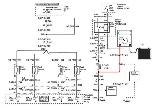 Figure 6: Shown here is the load tool and DMM connected between battery ground and pump relay ground to measure the voltage drop on the fuel pump ground circuit.