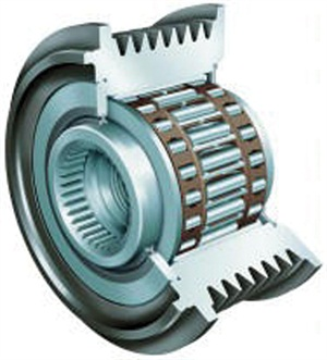 Here is a cutaway view of an alternator over-running clutch (AOC) pulley.