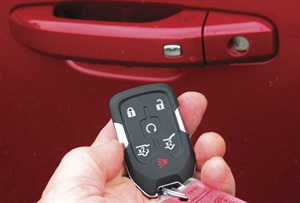 Remote keyless entry and starting (2014 GMC Yukon unit shown here) features unlock/lock buttons. If the fob is within range of the driver door, merely touching the button on the door handle will allow unlocking.