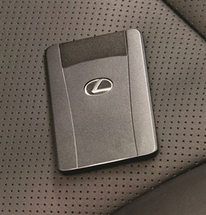 Proximity cards (for specific makes/models) are now available in a very thin design, allowing storage in the driver's wallet. Shown here is a proximity card for a Lexus 600HL.