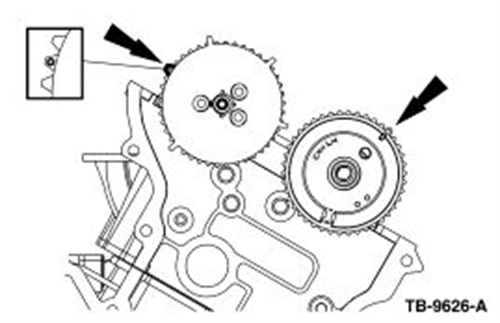 Rotate the crankshaft clockwise until cylinder 6 exhaust cam lobes are pointing up and valves are fully closed. The exhaust cam must remain in this position when performing the cap service.