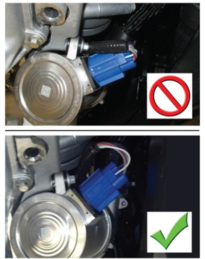 Avoid over-stressing the wiring (top). Route the harness to avoid damaging the connector (bottom).