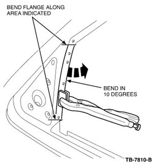 Carefully bend the flange inboard about 10 degrees, starting at the bend area and working your way down about 10 inches. Be careful not to over-bend the flange.