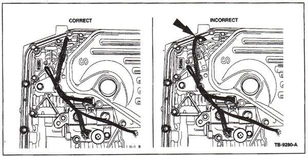 At left is the correct harness routing. At right shows an example of  the harness being pinched at the pan rail area (see arrow).