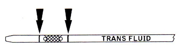 If you don't have reference lines on the dipstick, it's easy to accidentally overfill the transmission. The new dipstick features easy-to-read reference marks.