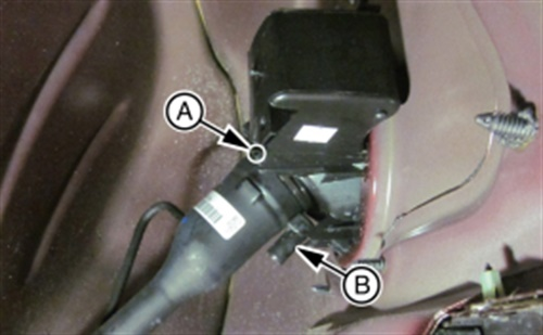 A) Plug the fuel tank filler pipe housing drain hole with clear silicone. B) Install a fill pipe drain tube if not already present.