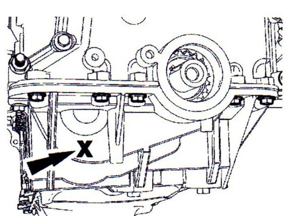 Using a stethoscope, check for rattle noise near the front of the engine block cradle.