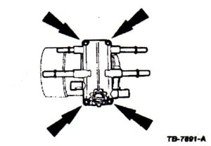 The fuel manifold cover is secured with four screws. When reinstalling, tighten the screws to 44 in.-lbs.