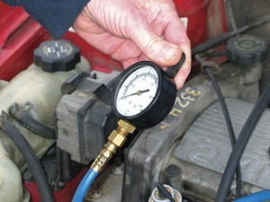 Among the potential causes of zero fuel pressure include a broken/poor fuel pump ground, or this could be the result of an impact sensor that was activated during a collision, shutting down the pump circuit. Attempt a reset before delving further.