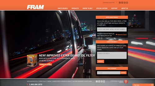 Fram's new website has a parts search tool developed for professionals.