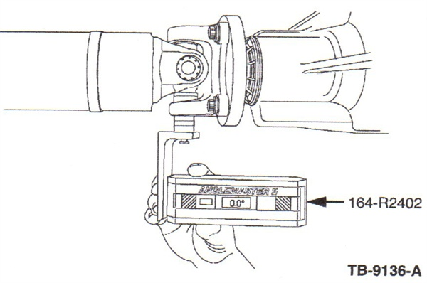 Rotate the driveshaft until the U-joint cup faces downward. Use the bearing cup face as the angle checking point.