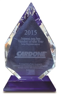 Cardone Industries Inc. was recently honored by Federated Auto Parts with its 2015 Vendor of the Year Sales Representation award.