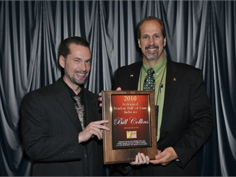 Bill Collins (right) of Standard Motor Products receives the 2010  Federated Vendor Hall of Fame inductee award from Bo Fisher, chairman of  Federated Auto Parts.