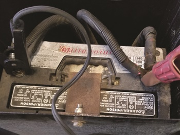 Figure 1: This battery is rated at 950 CCA. Testing with cables attached. Notice the reading displayed on the tester in Figure 2.