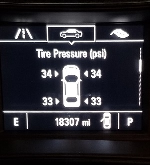 Figure 2: Here's an image of a tire psi display, this one from a 2017 Chevrolet. Courtesy of Southeast Mobile Tech