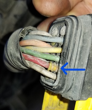 Figure 3: Excessive moisture entered this connector, resulting in a complete circuit failure.
