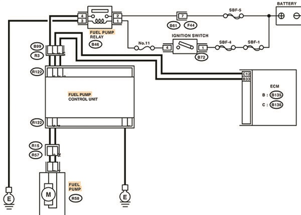 For purposes of illustration, depicted here is a typical fuel pump control unit schematic. Artwork courtesy of Motologic