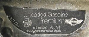 European car manufacturers display the fuel requirement as Anti Knock Index (AKI).