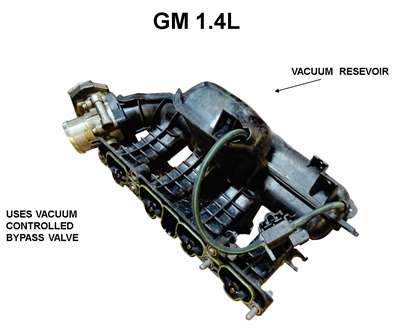 Figure 12: Example of an intake manifold from a 1.4L GM engine with the vacuum reservoir attached.