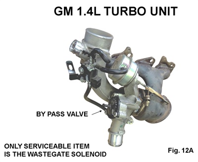 Figure 12A: The only serviceable unit on the GM 1.4L turbo is the wastegate control solenoid.