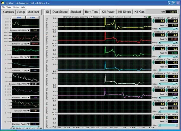 Figure 16: Ignition waveforms on the ATS EScope that had a compression problem.