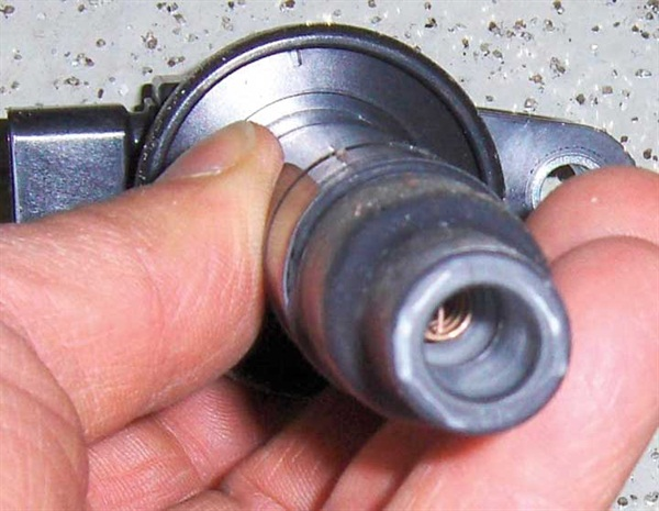 Figure 3: Another view of the inside of a COP ignition coil. Be sure to replace leaking boots.