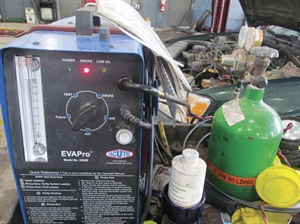 A smoke machine that uses CO2 gas is crucial for finding leaks using this method.