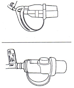 The figure at the top shows a non-thermostatically controlled plug. The lower drawing shows a thermostatically controlled plug. The thermostatically controlled plug is larger and has a tag attached indicating that it operates below 0 degrees F.
