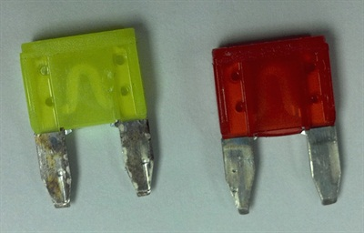 If no witness marks are seen on both terminals of each fuse (as shown on fuse at right), replace the fuse box.