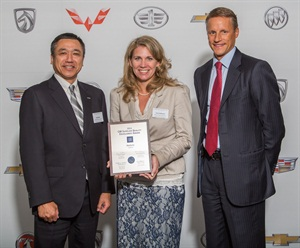 Accepting the award were (from left): Ted Saito, president and CEO, Akebono Brake Corp.; Lisa Vollmert, director of OE sales, Akebono; presented by Wade Sheffer, executive director of global purchasing and supply chain, General Motors.