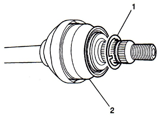 Figure 1. Install the new washer (1) between the hub and drive shaft (2).