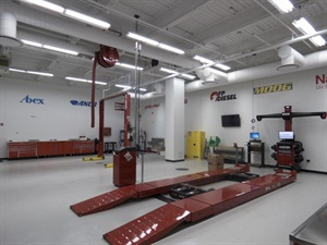 "A bay at the new Federal-Mogul ""Garage Gurus"" automotive technical training center in Skokie, Ill."