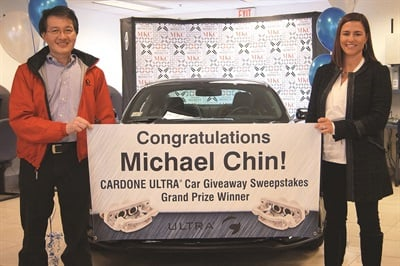 """After Christin Cardone McClave presented him with his new Mustang and handed over the key, Michael Chin stated that the 10-year warranty cinched his decision to try the product. """"When I saw the ad for the sweepstakes, I figured, what the heck? I'll give it shot!"""""""
