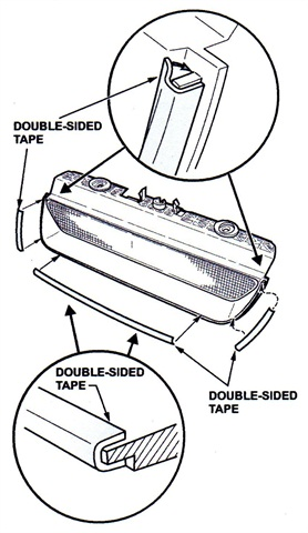 Figure 1. Apply double-sided tape on the outside edge, then fold it inward to wrap the lip.