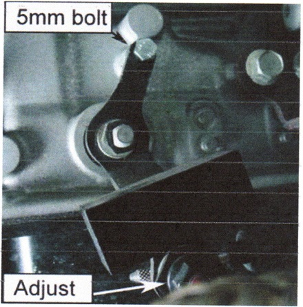 """The 5mm """"alignment"""" bolt slips into the top of the lever as seen here. The adjuster nut is shown at the bottom of the photo."""